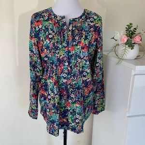 Talbots Floral Pleated Tunic size M